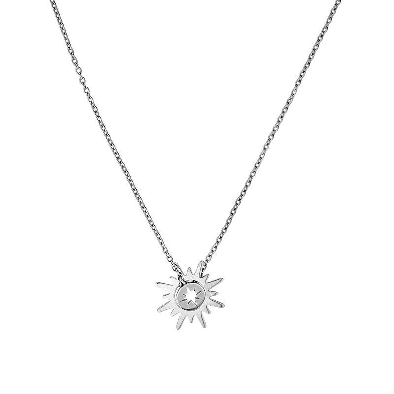 Silver Sun & Star Necklace