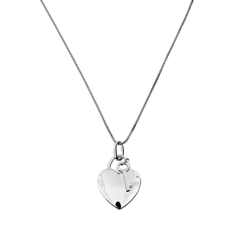 Silver Heart & Key Necklace