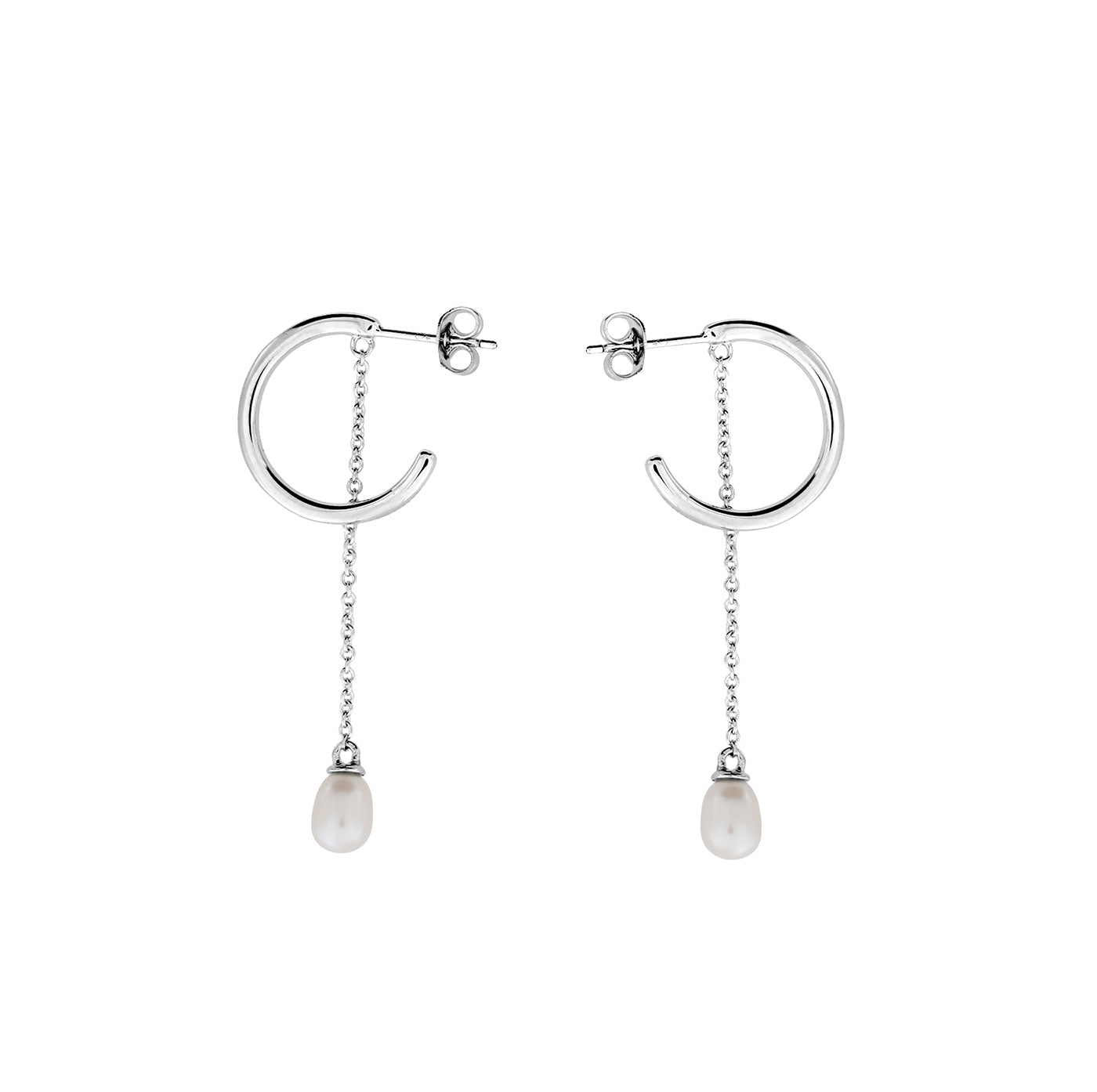 Dangling Pearl Hoop Earrings