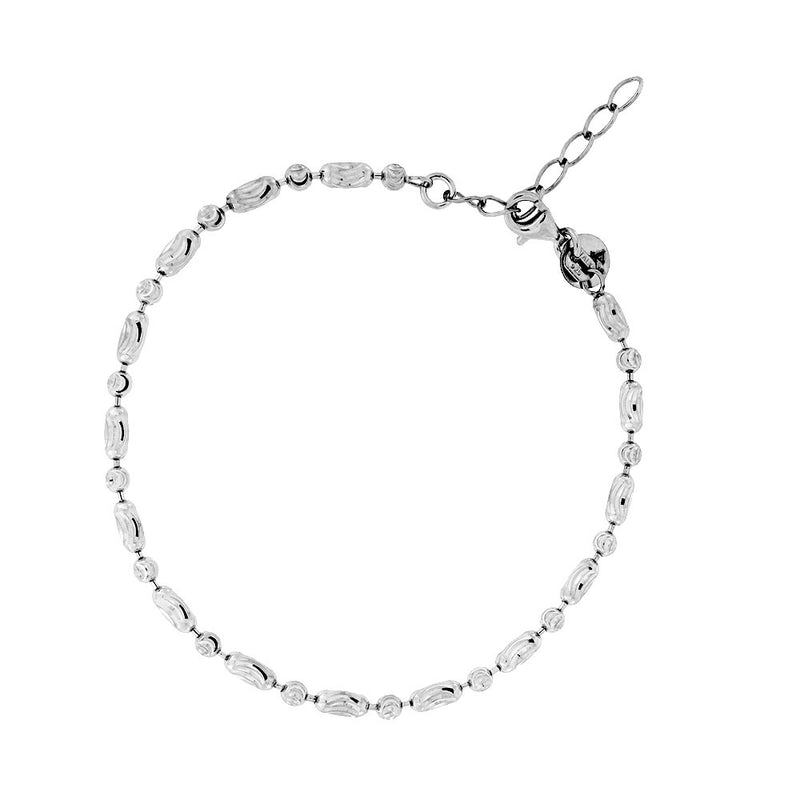 Silver Oval & Round Faceted Beads Bracelet