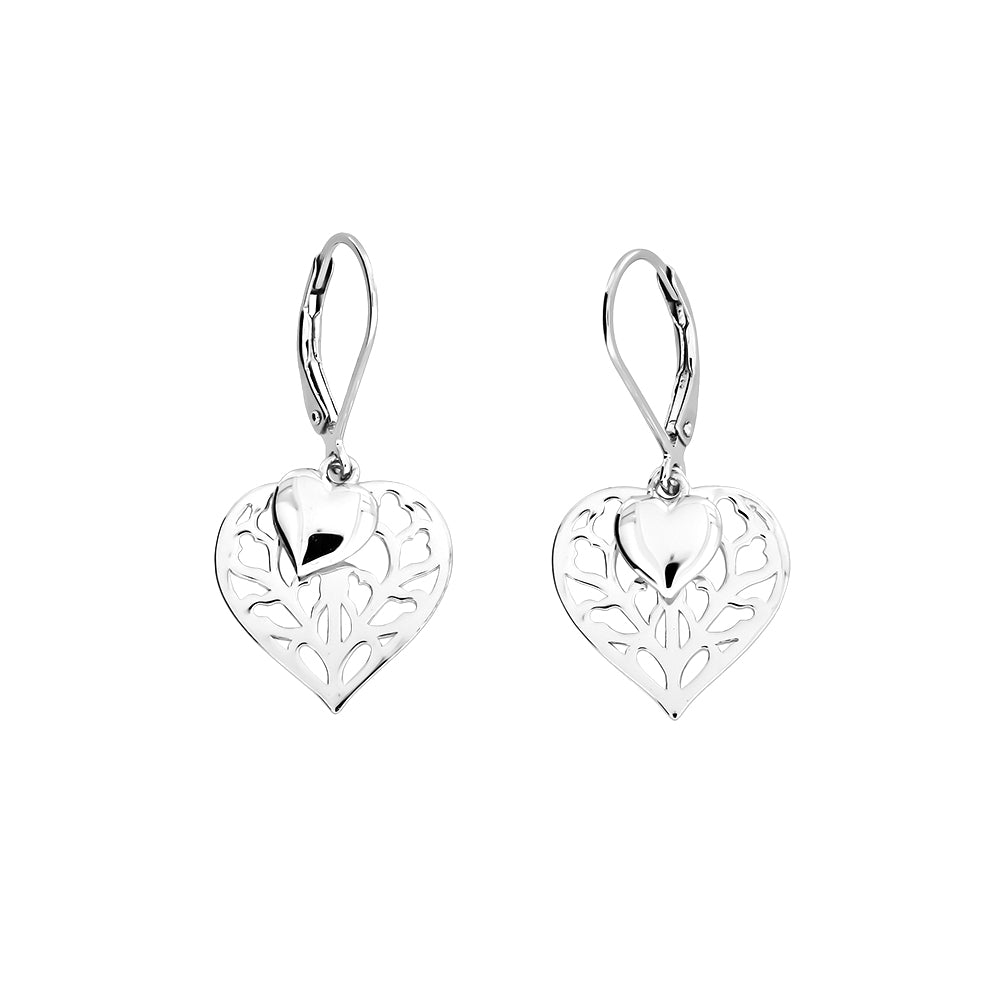Silver Heart of Yorkshire Double Drop Earring