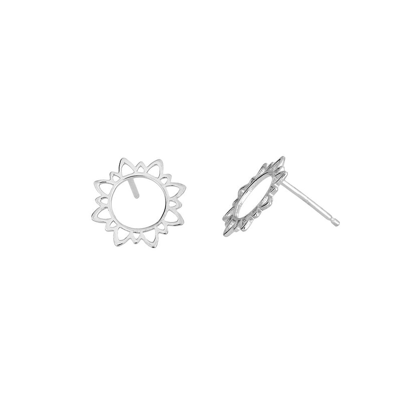 Silver Mini Sun Outline Stud Earrings