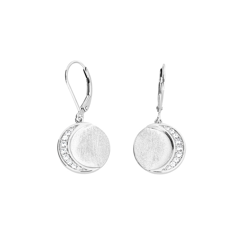 Silver & Pavé Eclipse Drop Earrings