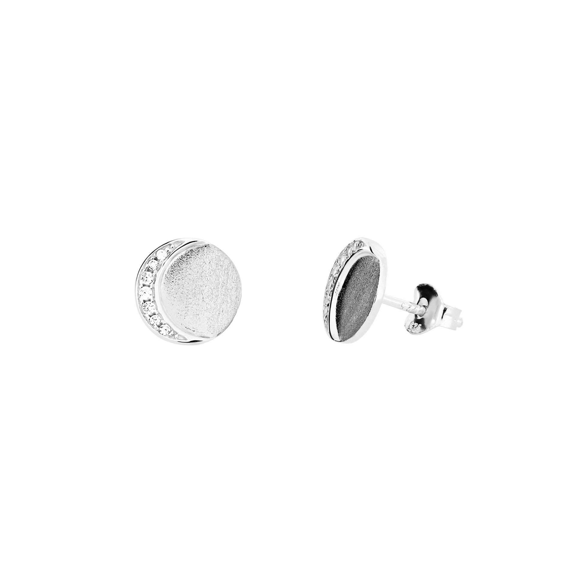 Silver & Pavé Eclipse Stud Earrings