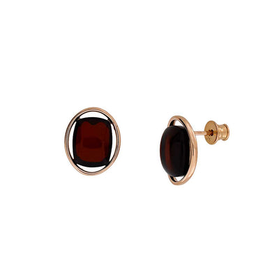 Rose & Cherry Amber Oval Studs