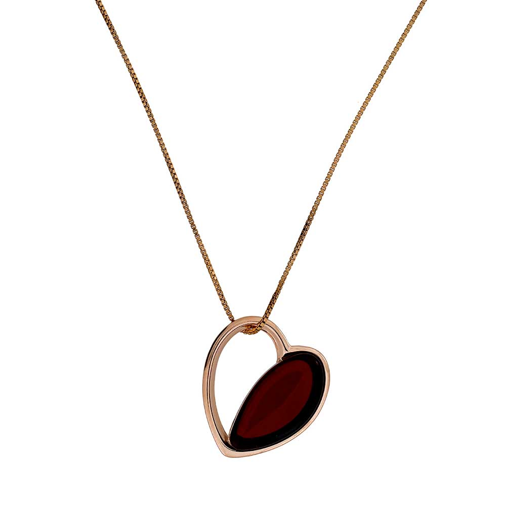 Rose & Cherry Amber Heart Pendant