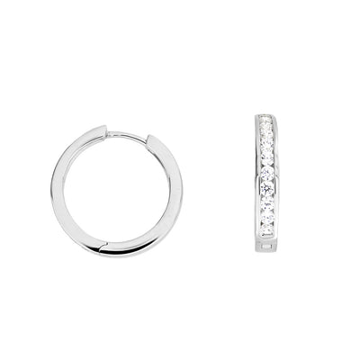 Hinge Hoop Earrings - Medium Stone-Set