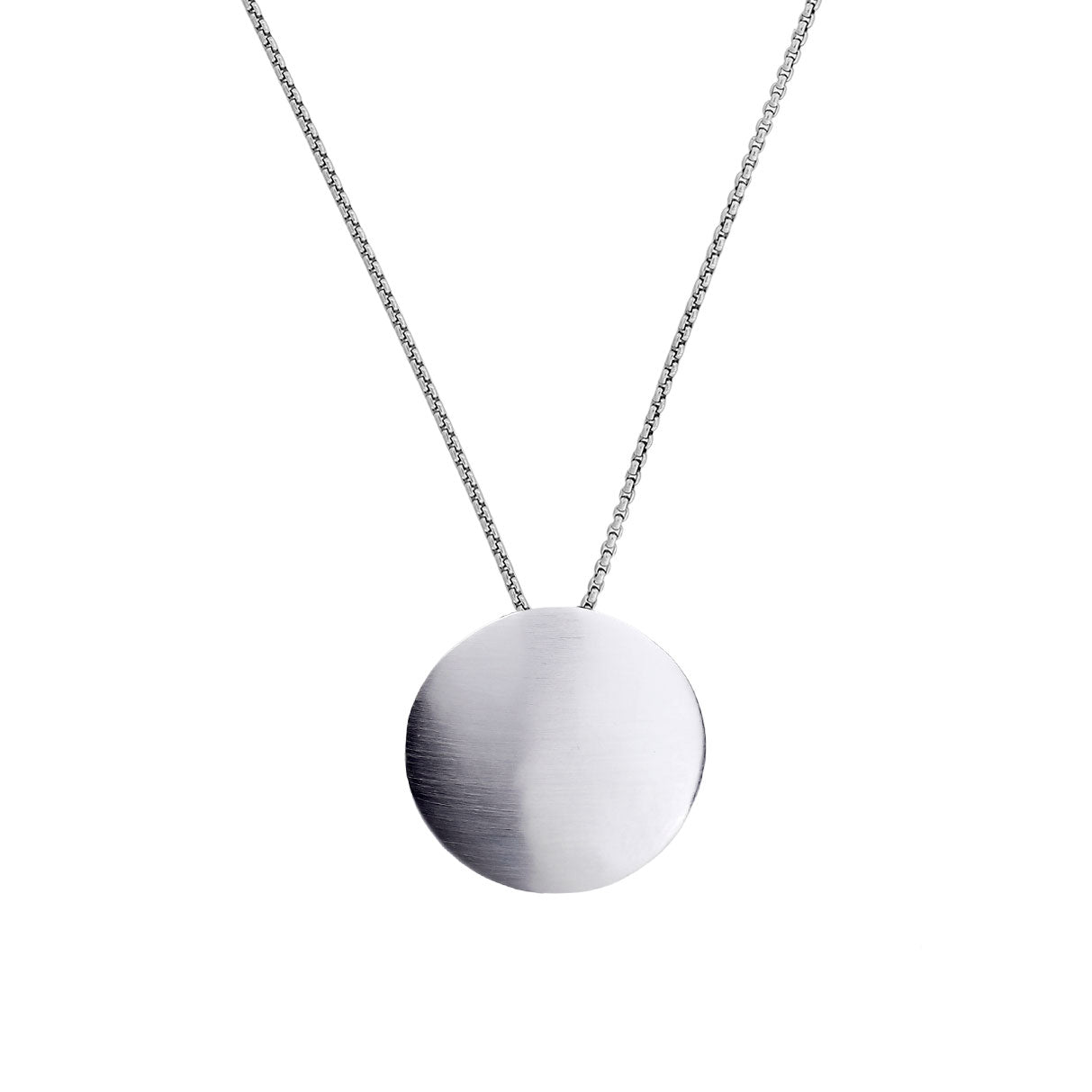 Silver Satin Button Pendant