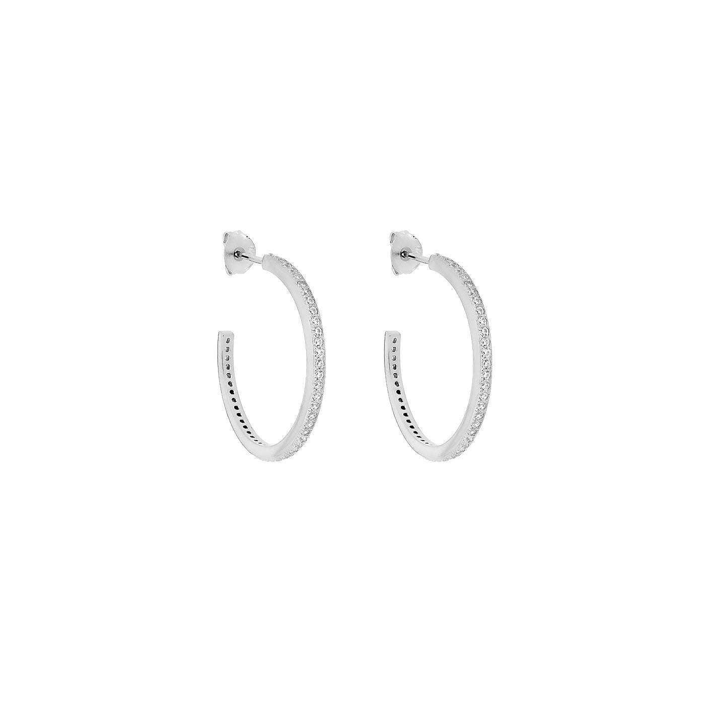 Pavé Three-Quarter Hoop Earrings