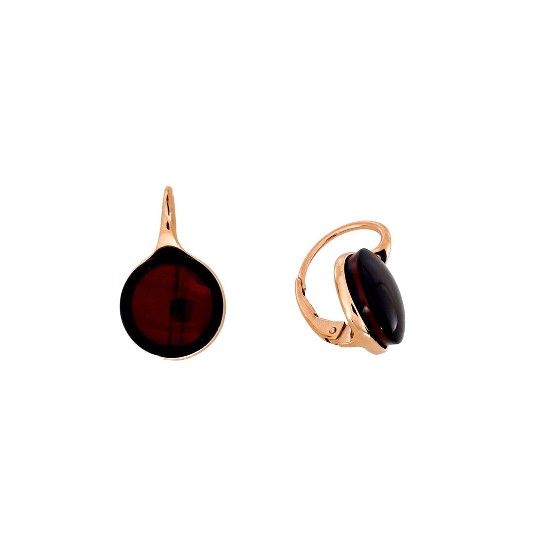 Rose & Cherry Amber Button Drop Earrings