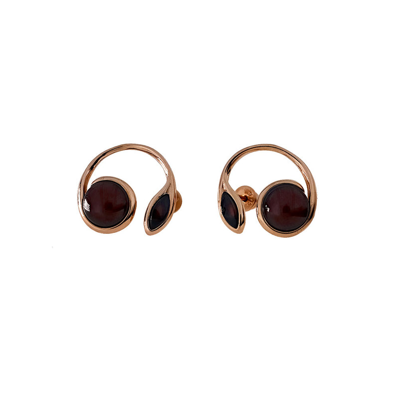Rose Vermeil Cherry Amber Curl Earrings