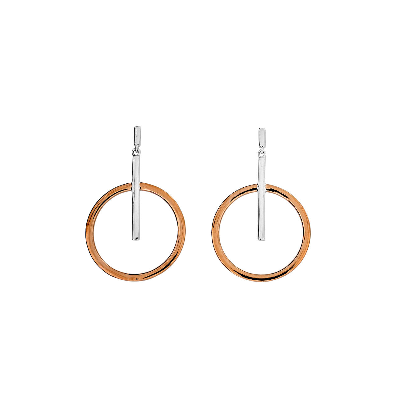 Metropolitan Circle and Line Drop Earrings