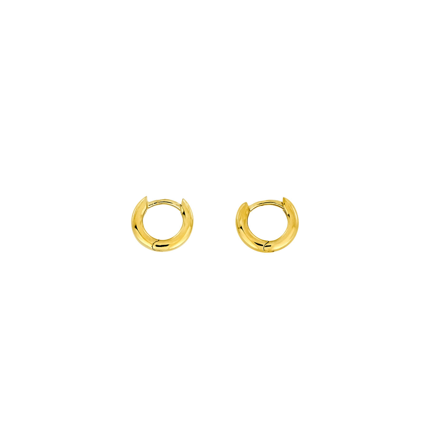 Gold Hinged Hoops - Round Section - 9ct -10mm