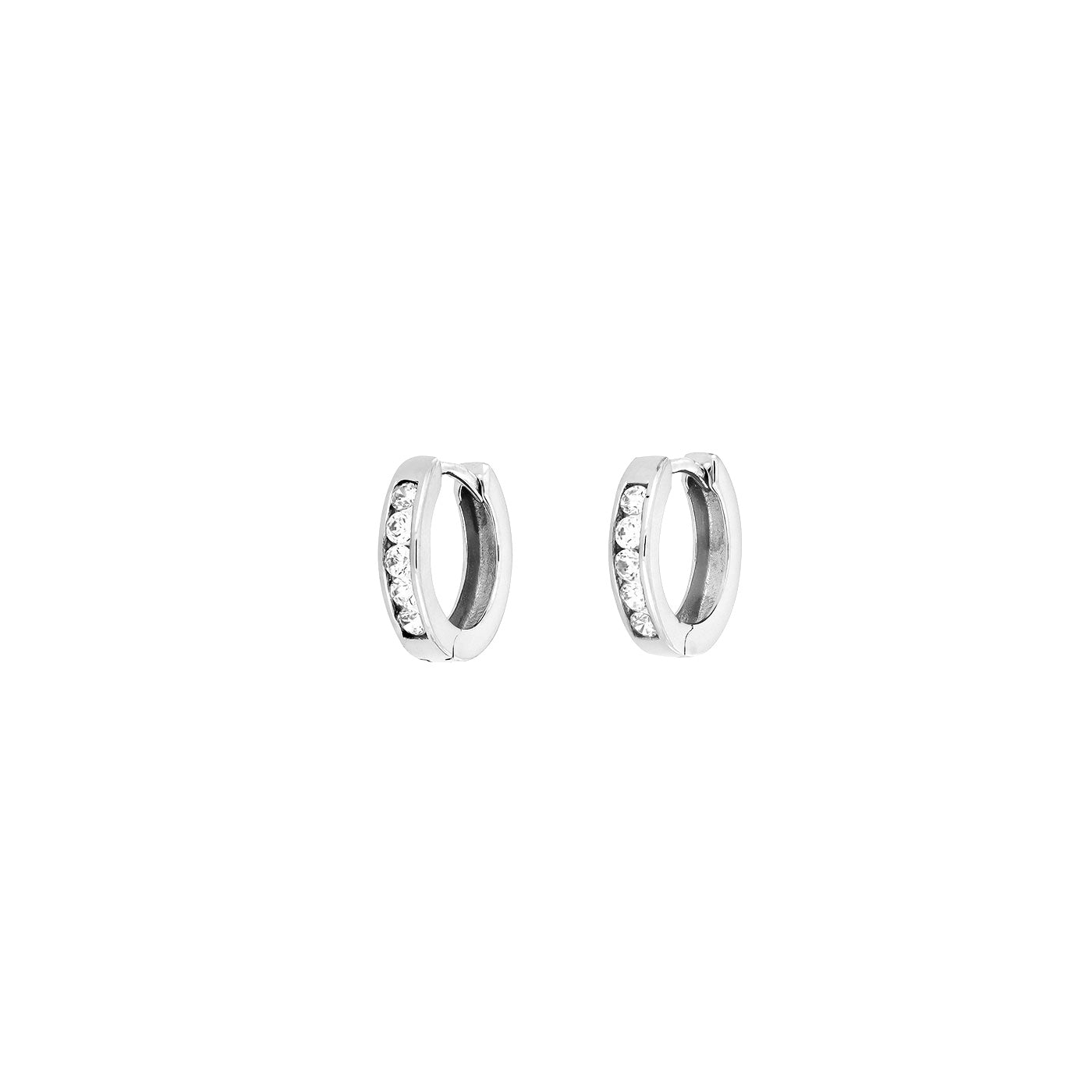 Gold Hinged Hoops - Stone Set- 9ct -10mm