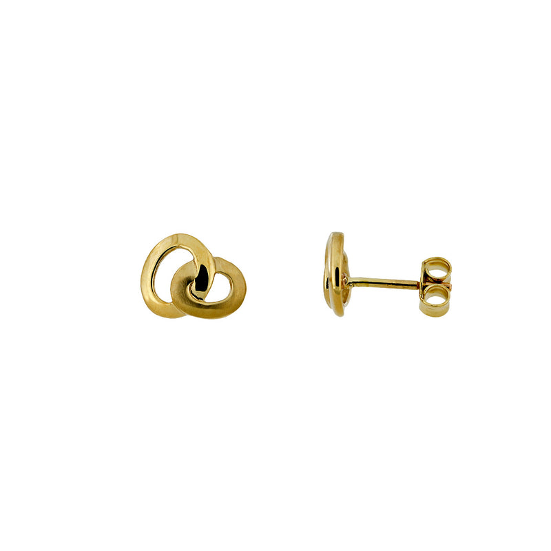 Gold Satin & Polished Interlocked Ovals Studs
