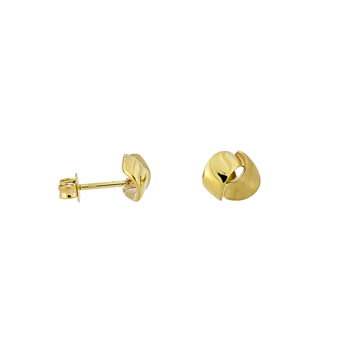 Gold Satin & Polished Curves Studs