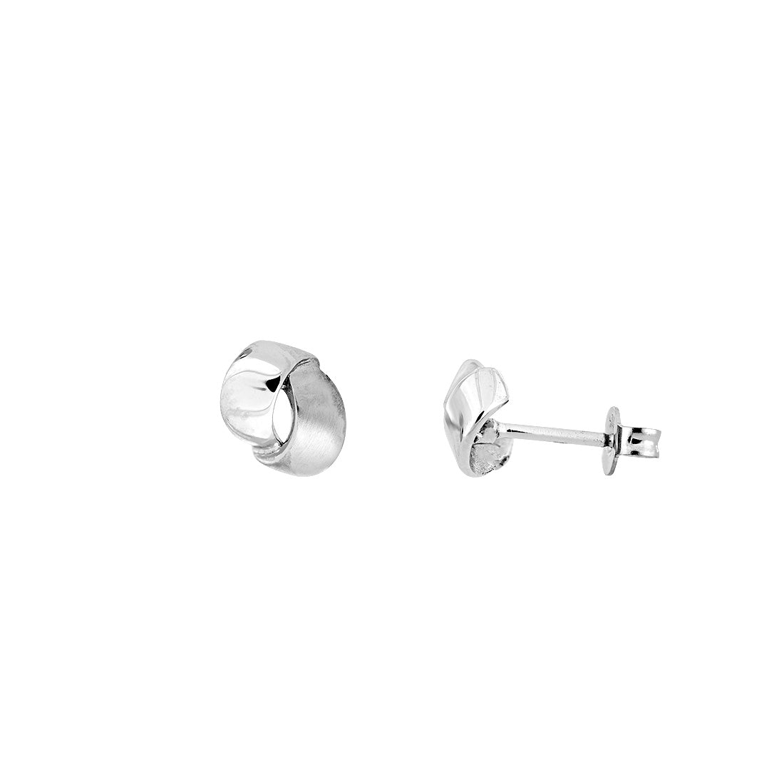 White Gold Satin & Polished Curves Studs
