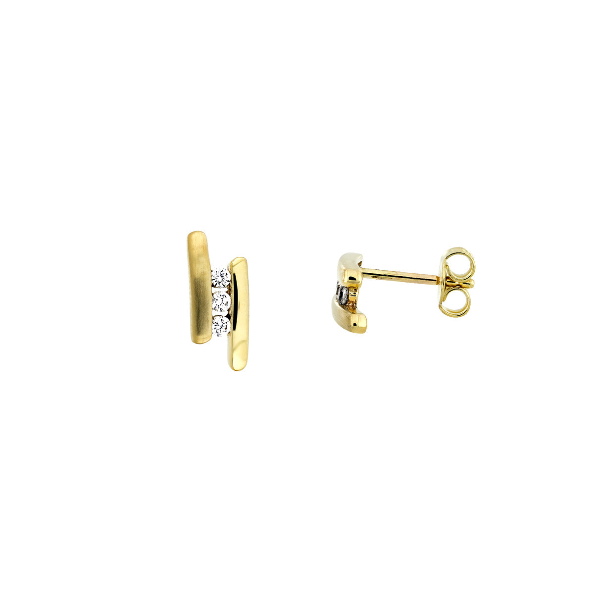 Gold Satin & Polished Bars Studs