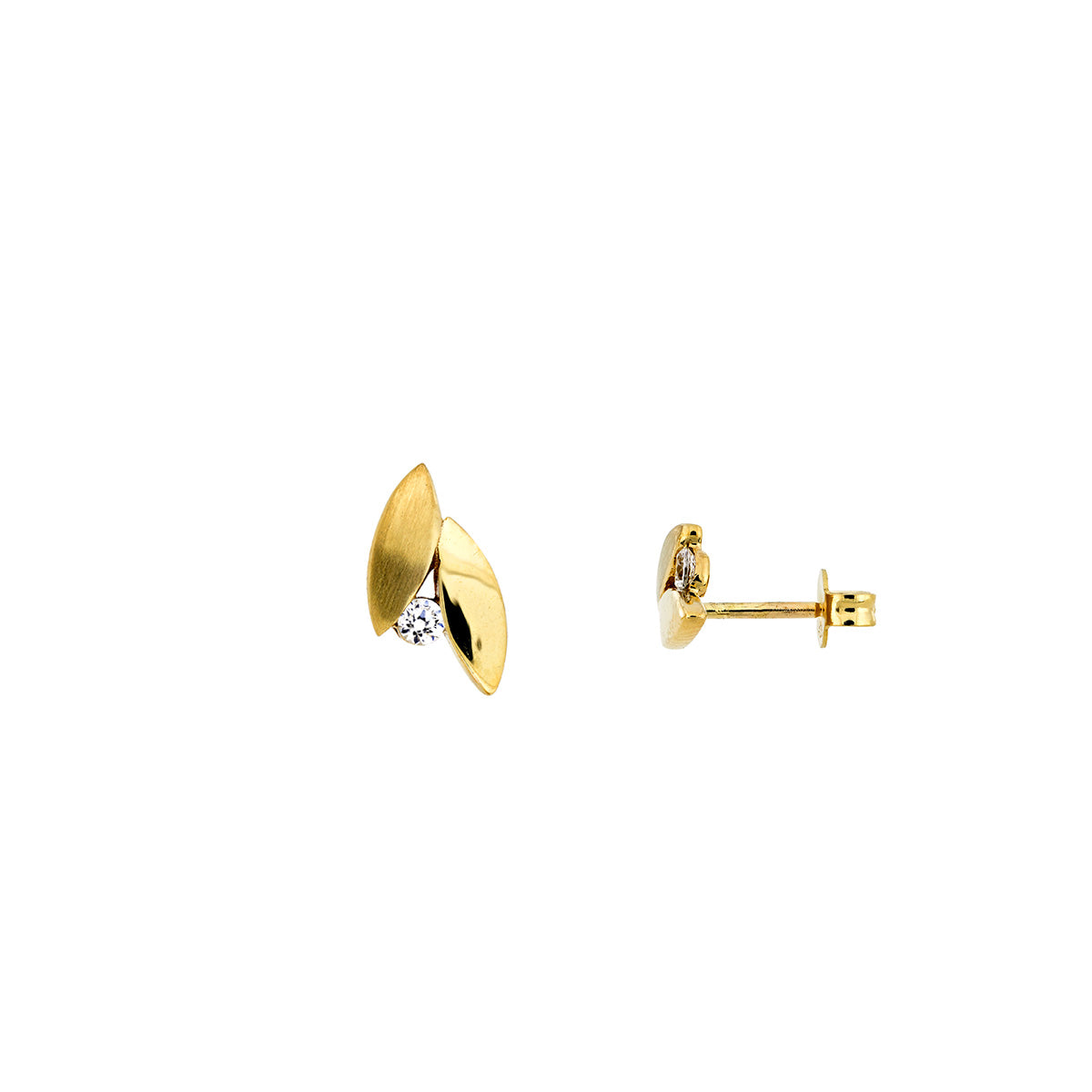 Gold Leaves Stud Earrings