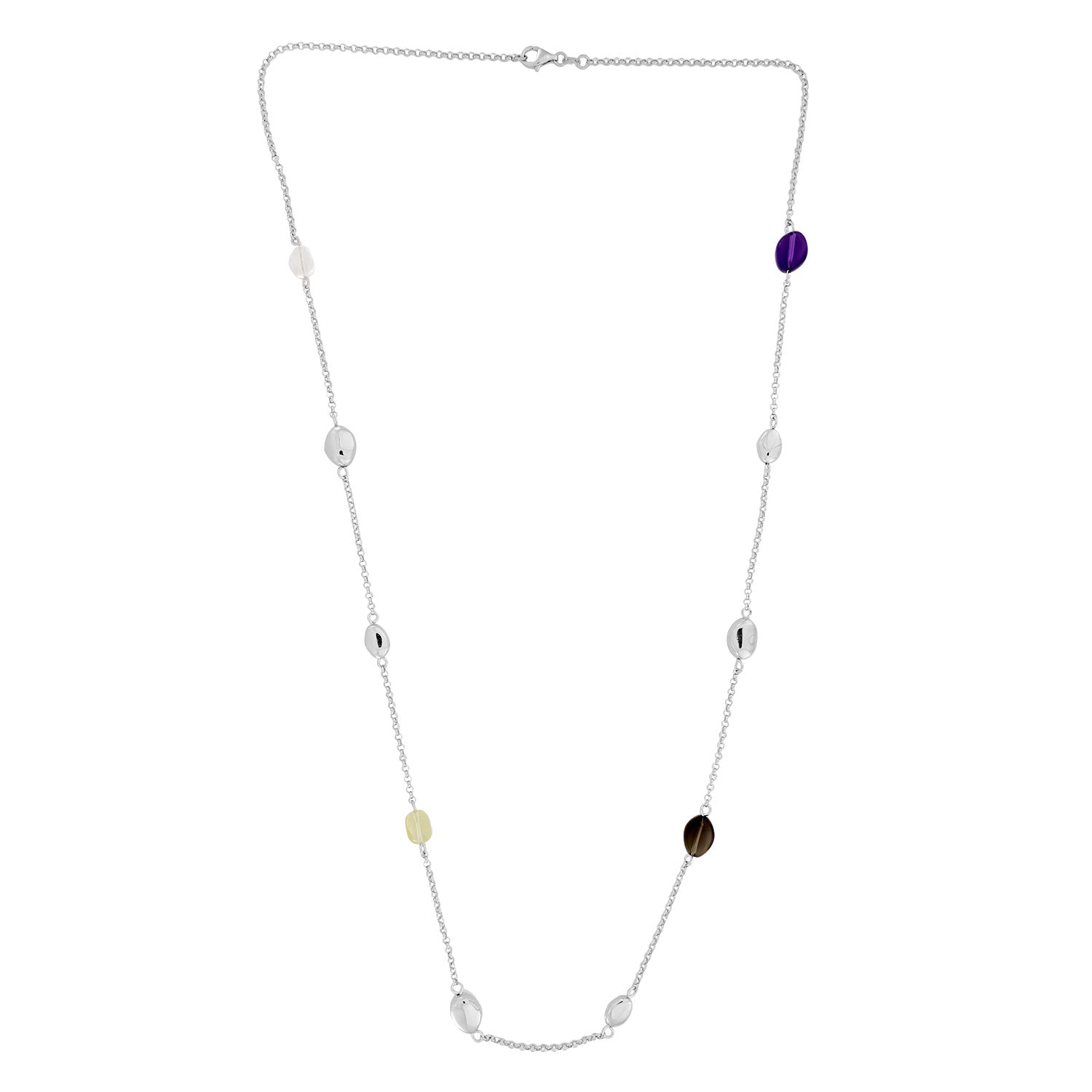 Malham Long Silver Necklace with Amethyst and Quartz