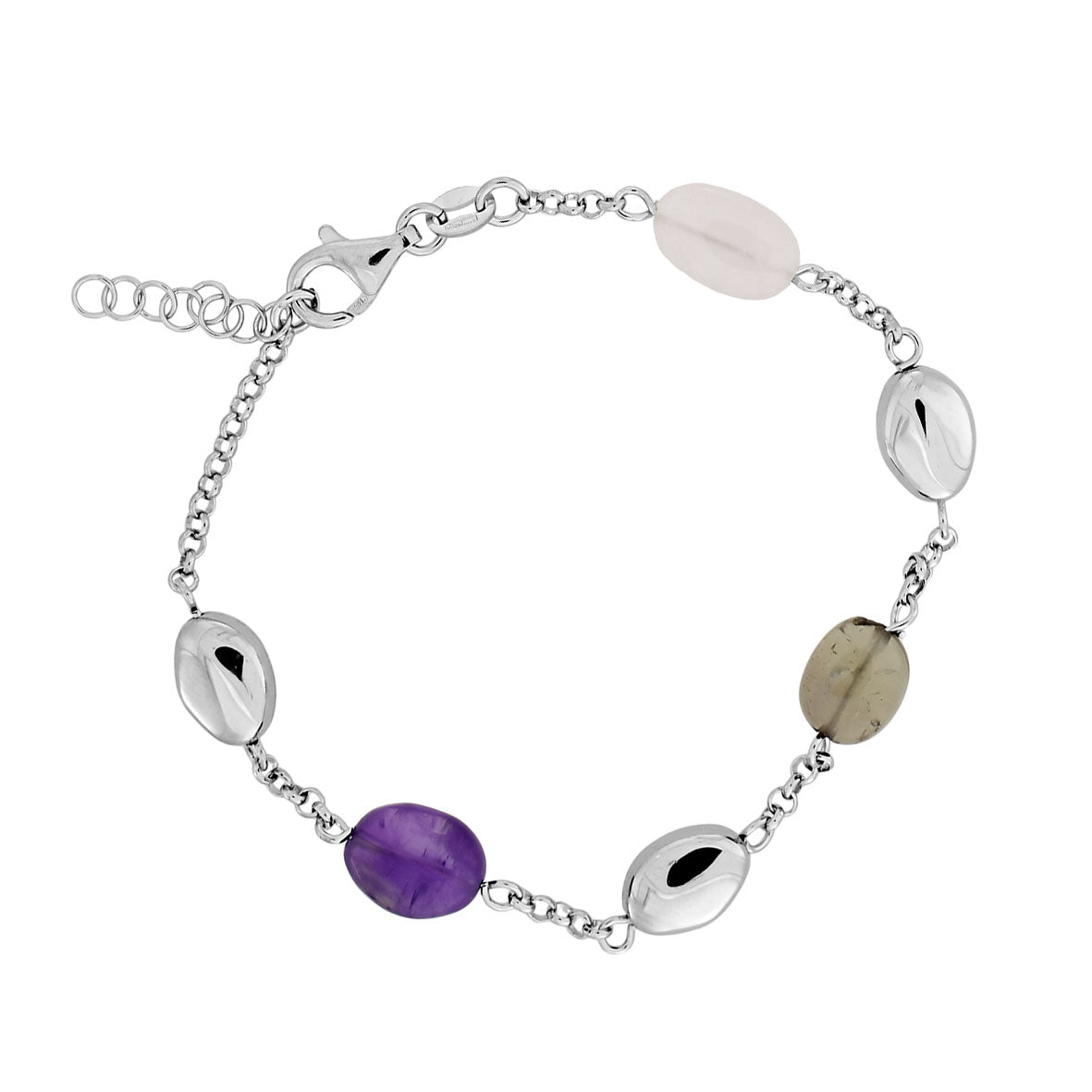 Malham Silver Bracelet with Amethyst and Quartz