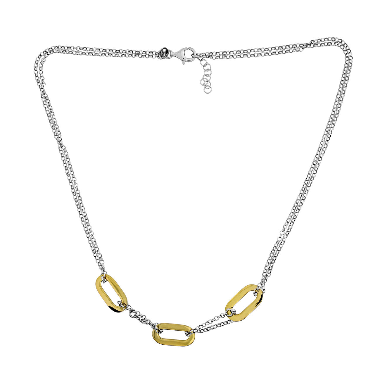 Calcaria Gold Vermeil Ovals Necklace