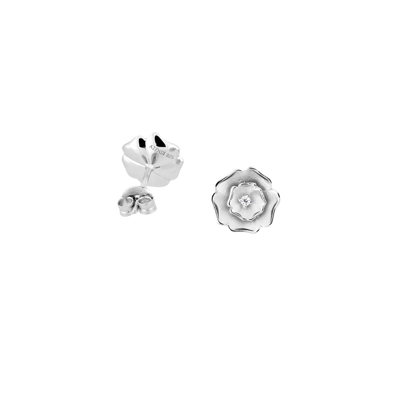 Sterling Silver Yorkshire Rose Earrings - Frosted