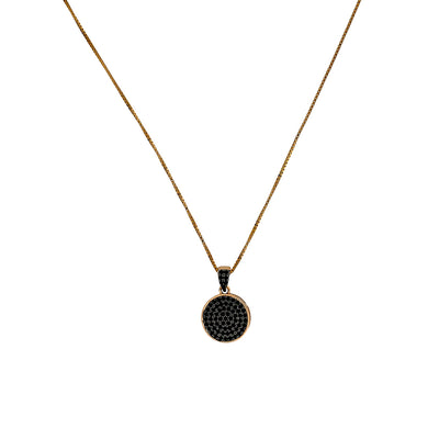 Midnight Rose Black Pavé Round Pendant
