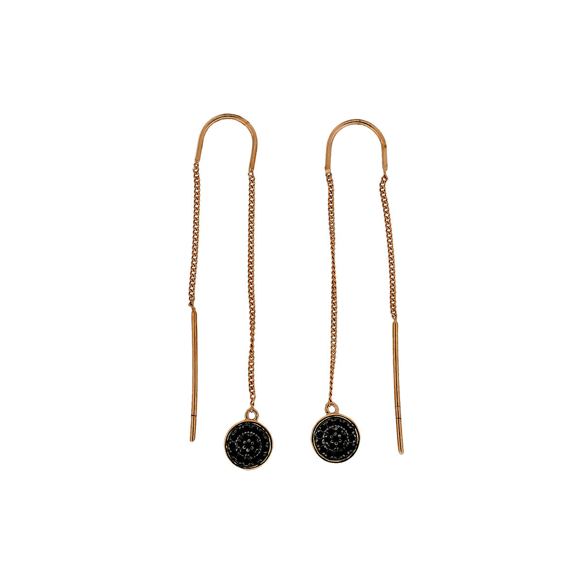 Midnight Rose Pull Through Chain Earrings
