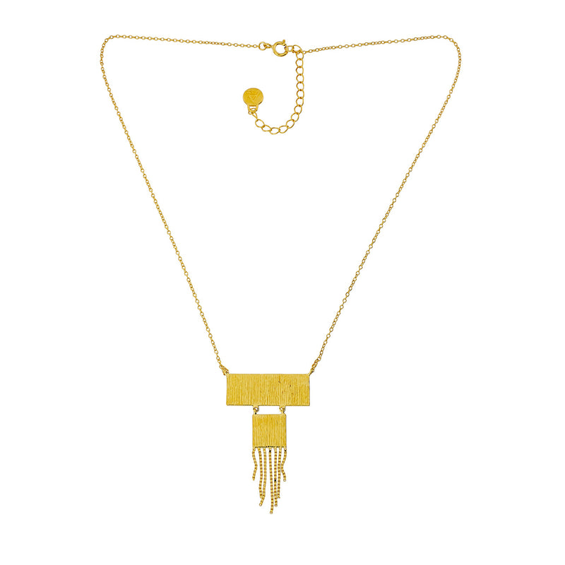 Gold Vermeil Textured Shapes & Tassel Necklace