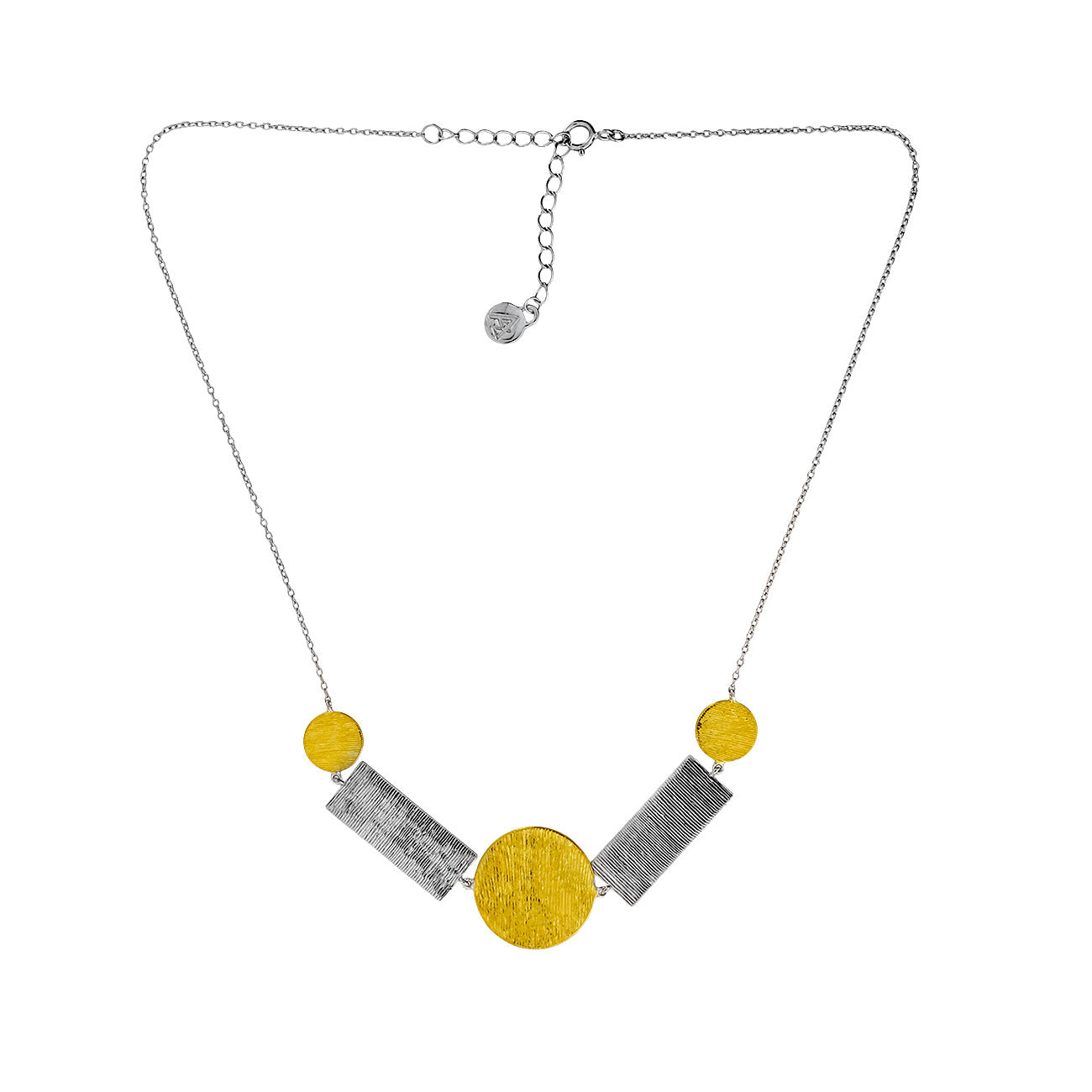 Silver & Vermeil Textured Shapes Necklace