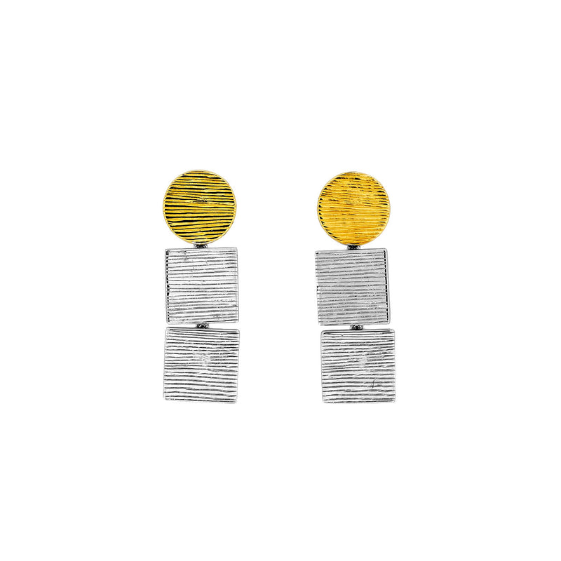 Gold Vermeil & Silver Textured Shapes Earrings