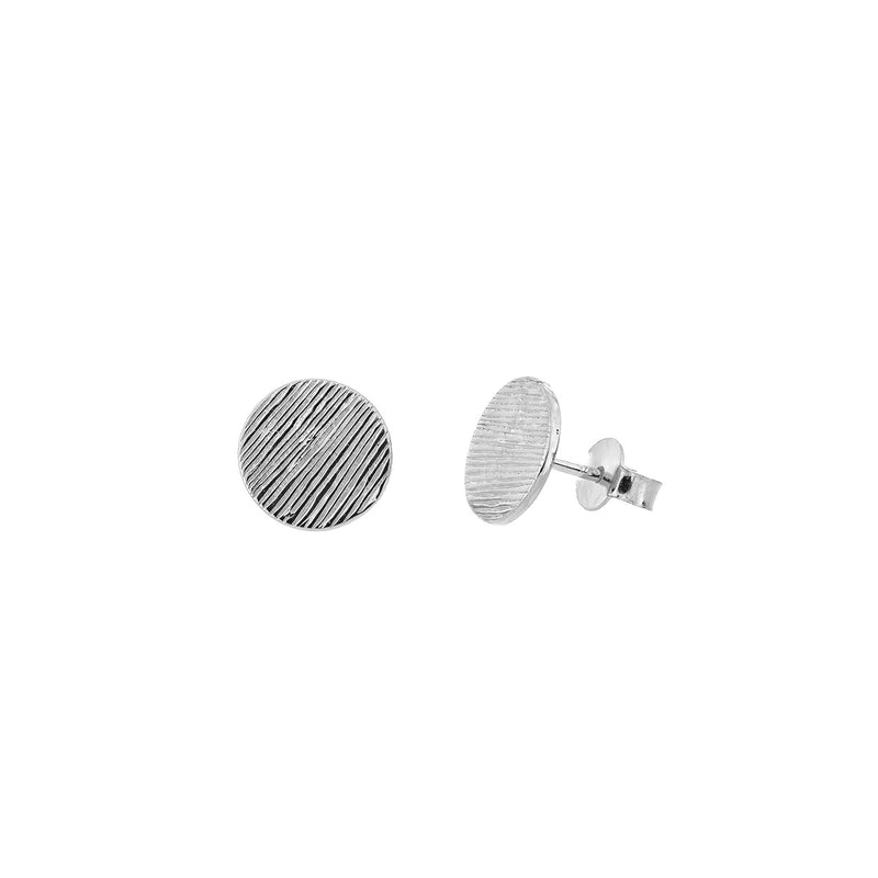 Silver Textured Circles Earrings