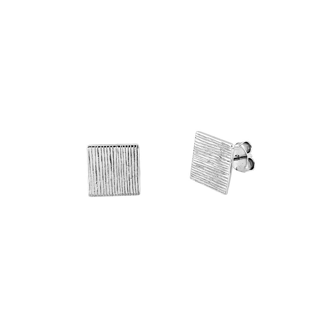 Textured Silver Square Earrings