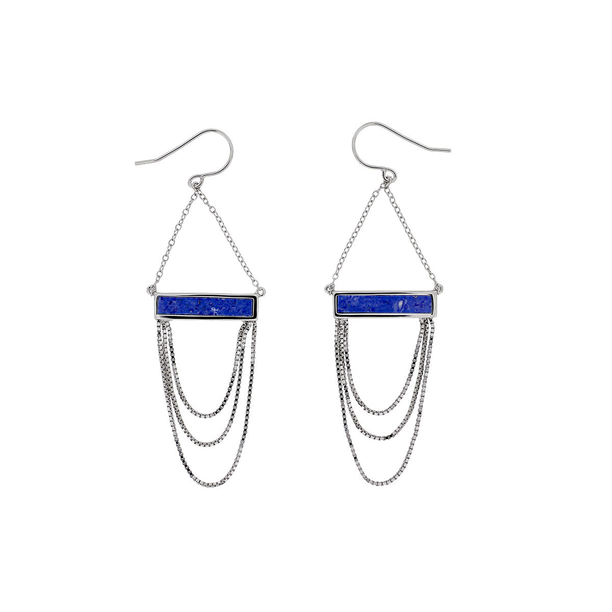 Horizon Chains Earrings in Blue Howlite