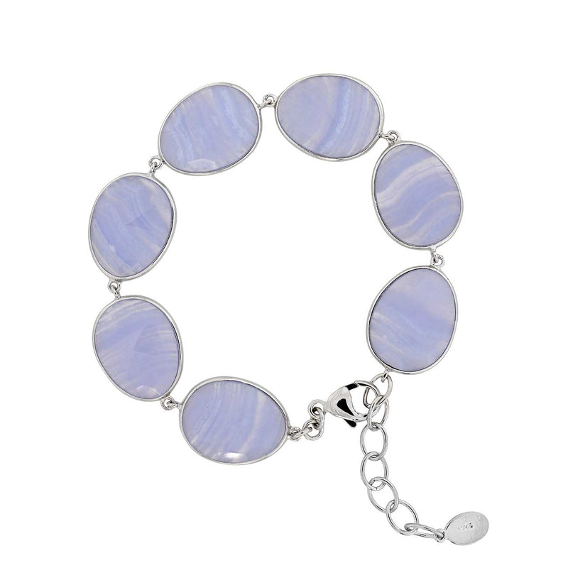 Blue Agate and Silver Bracelet