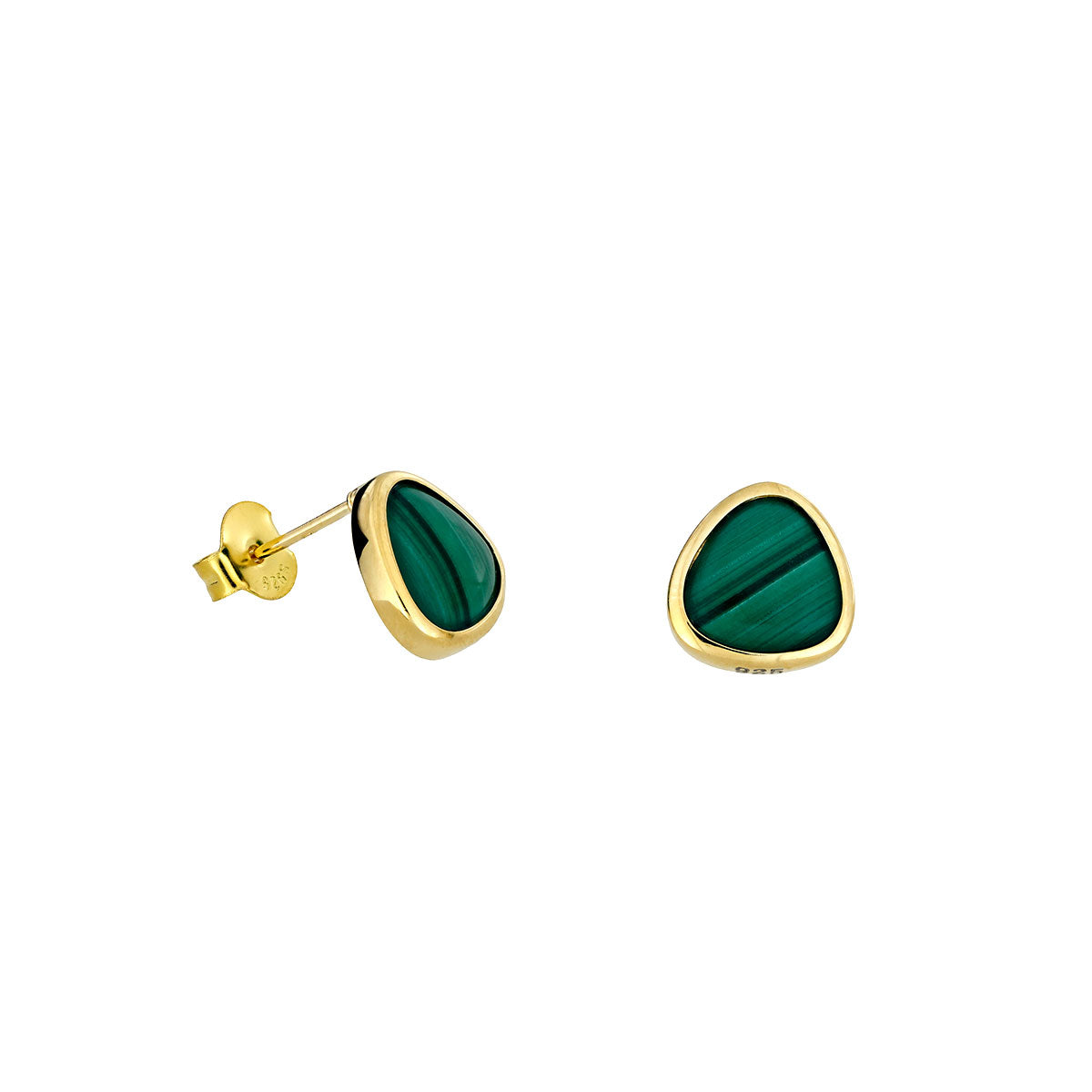 18ct Gold Vermeil Malachite Avalon Stud Earrings