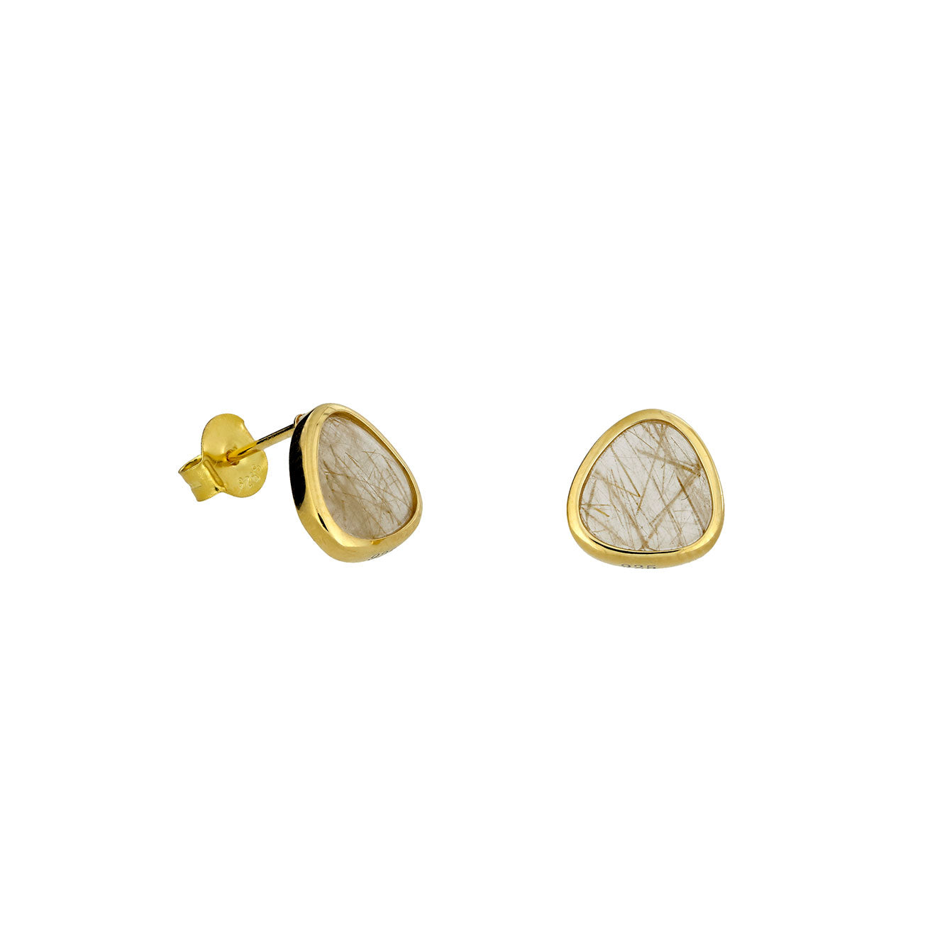 Golden Rutile & 18ct Gold Vermeil Stud Earrings