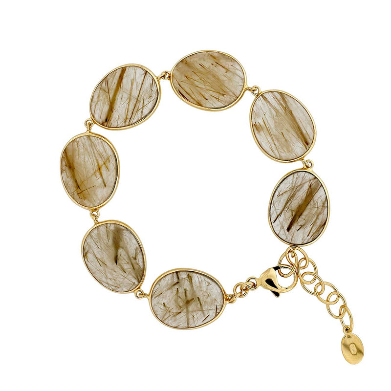 Golden Rutile and Silver Bracelet