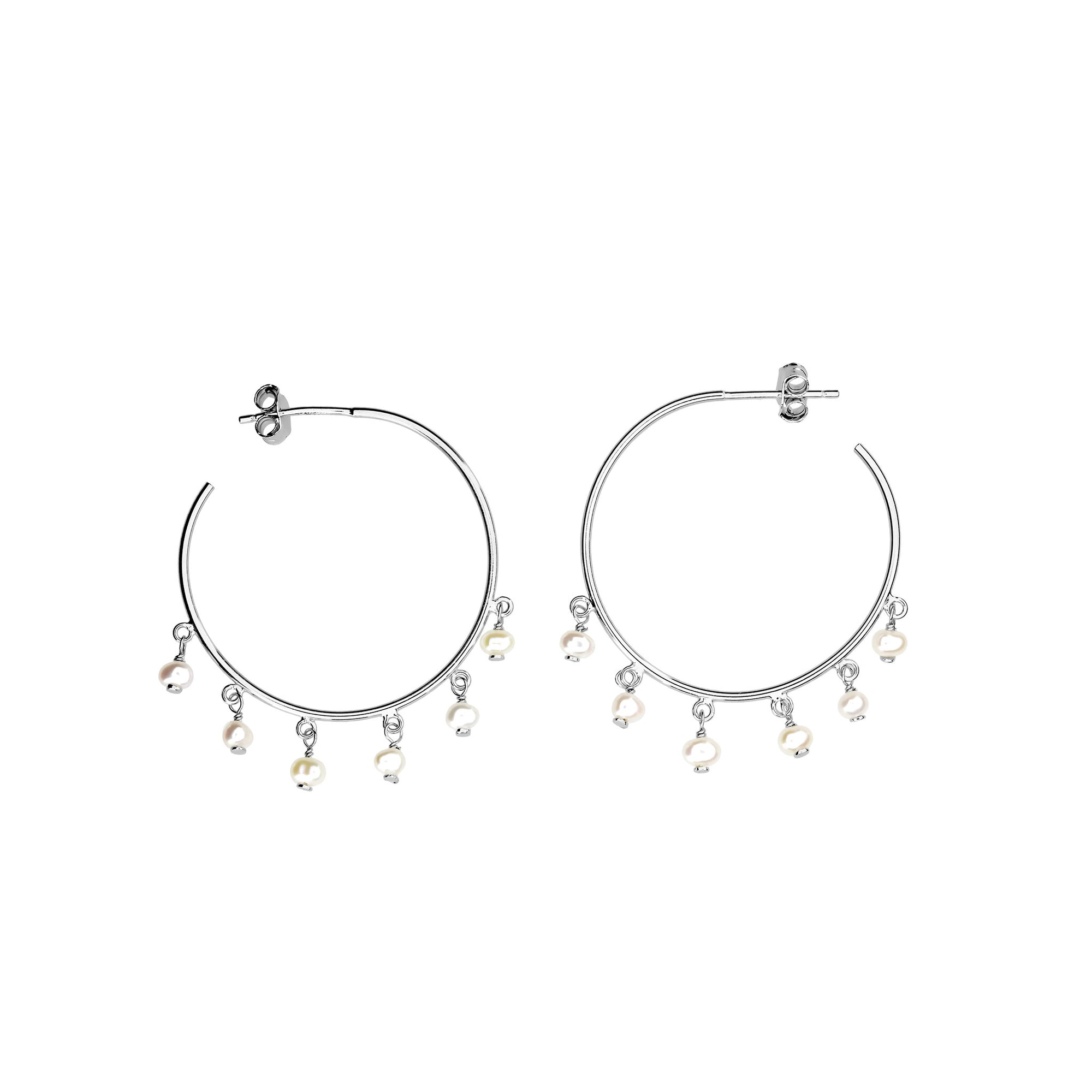 Tribeca Dangling Pearl Hoop Earrings
