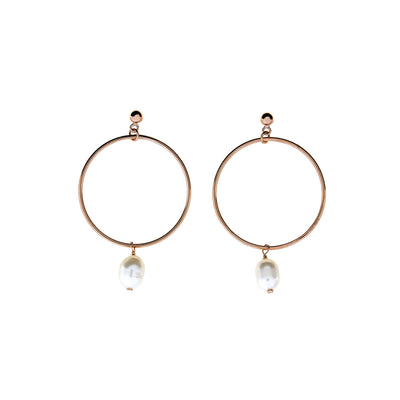 Tribeca Open Circle & Pearl Drop Earrings