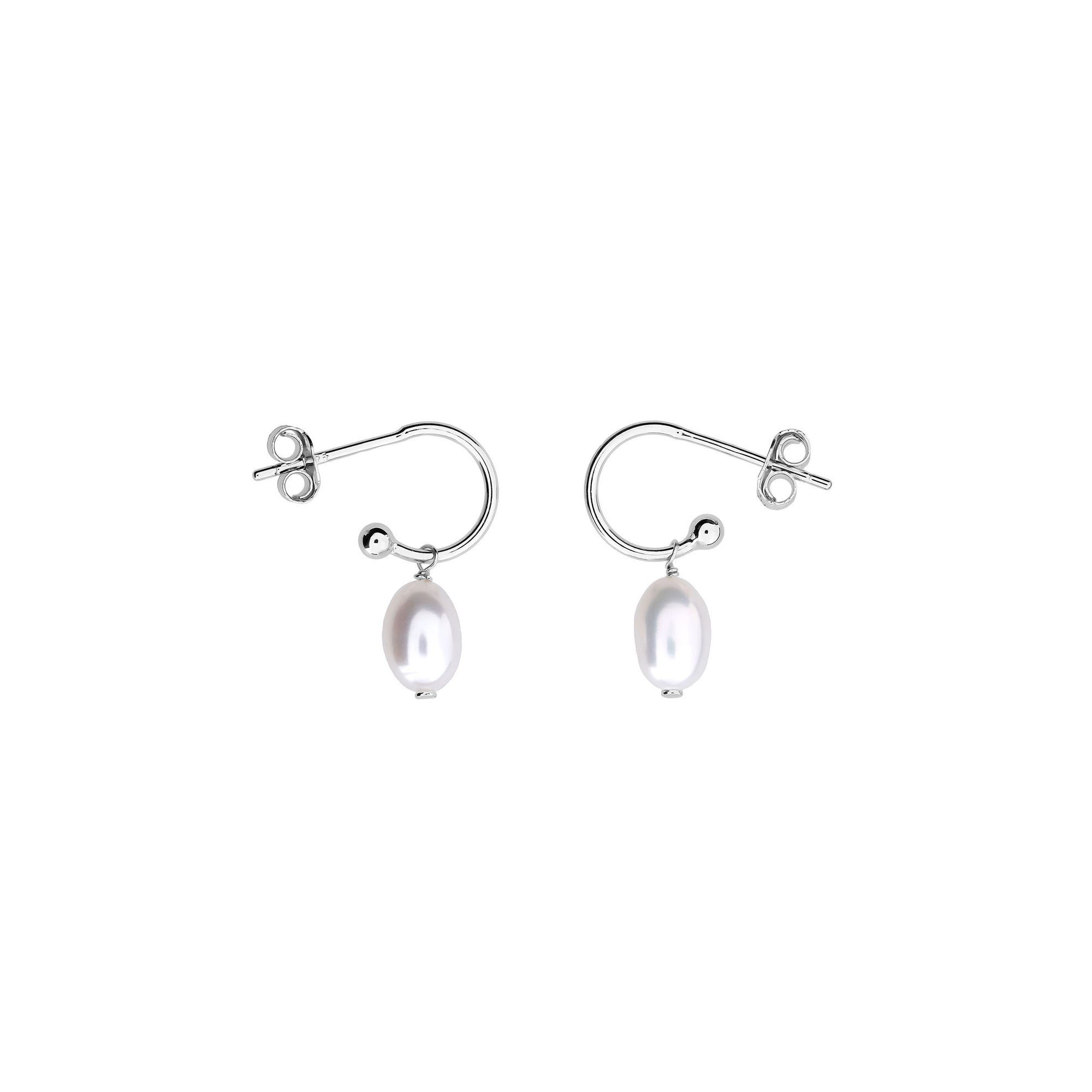 Tribeca Mini Hoop & Pearl Drop Earrings