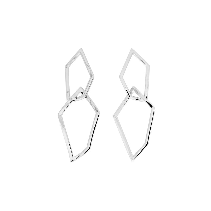 Pinnacle Interlocking Polygon Earrings - Silver