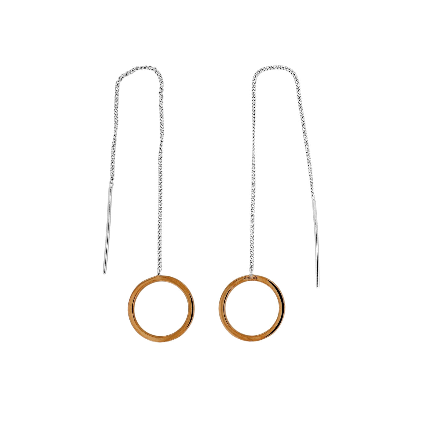 Pinnacle Rose Gold Vermeil pull Through Hoops