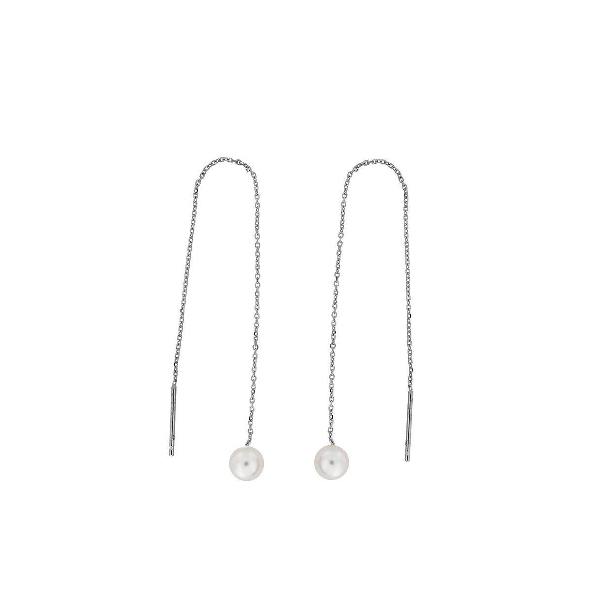 White Gold Round Pearl Pull-through Earrings