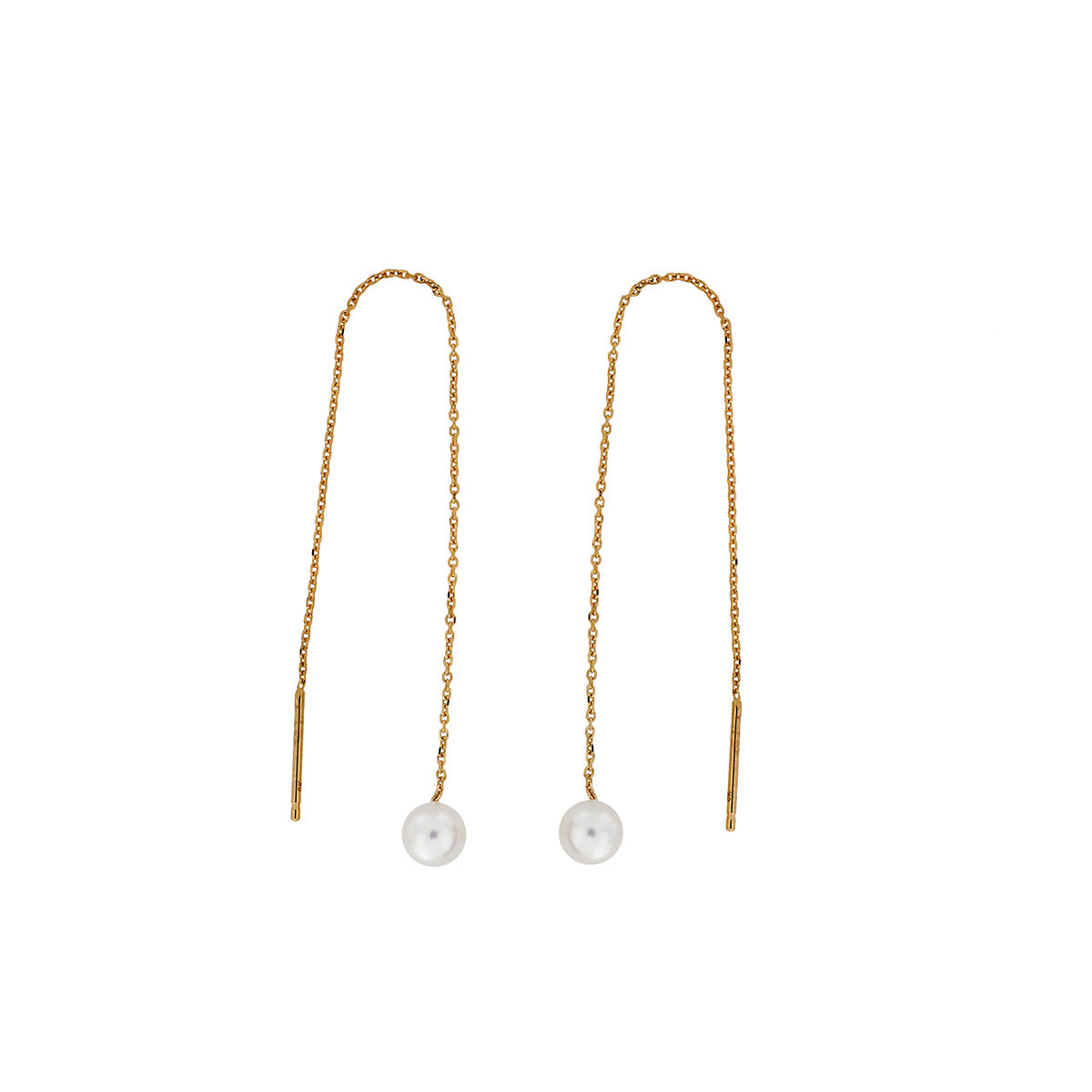 Yellow Gold Round Pearl Pull-through Earrings