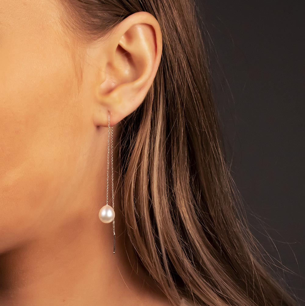 White Gold Oval Pearl Pull-through Earrings