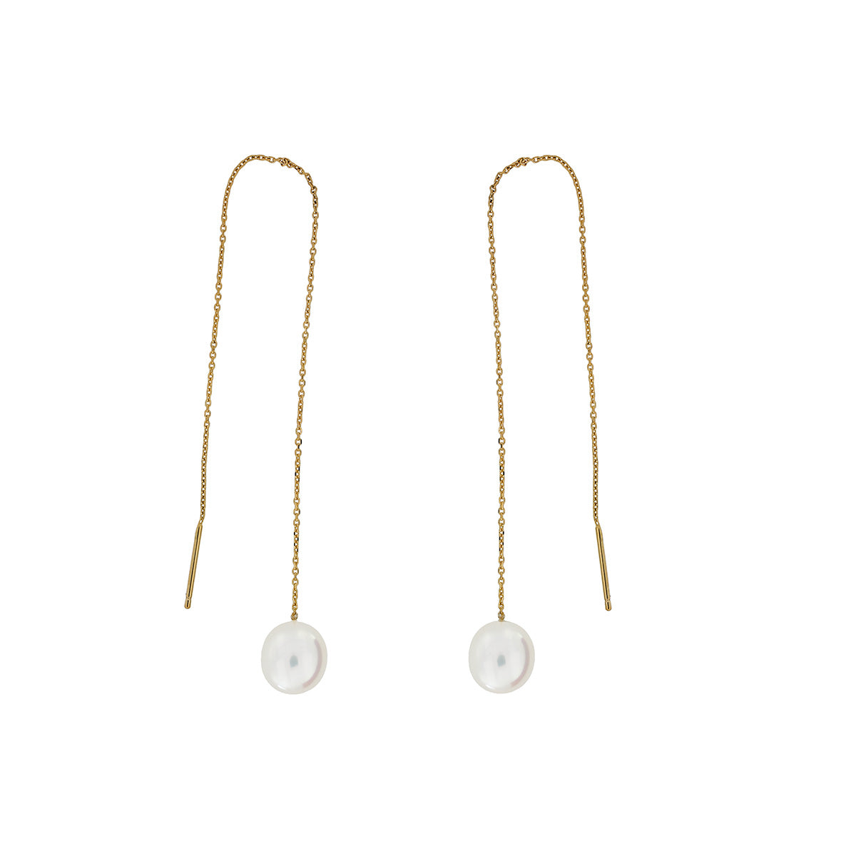 Yellow Gold Oval Pearl Pull-through Earrings