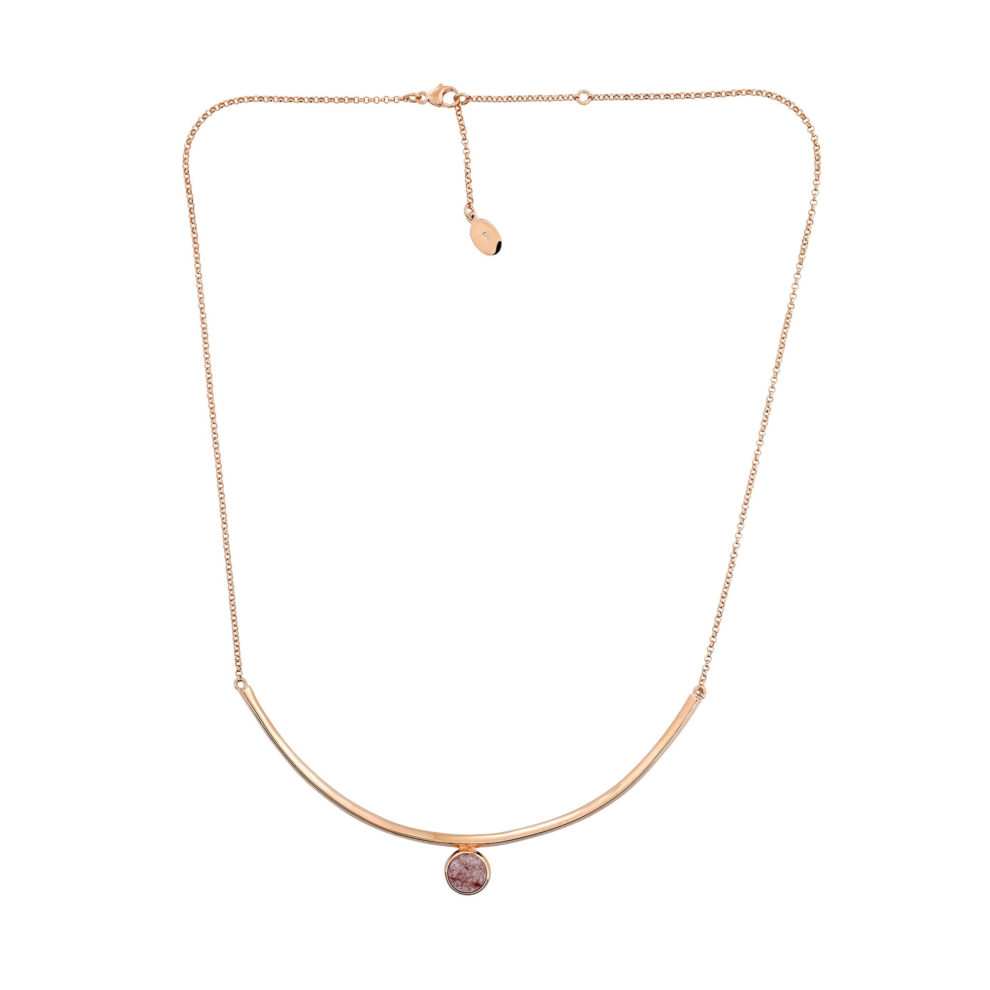 Ithica Curve Necklace with Strawberry Quartz