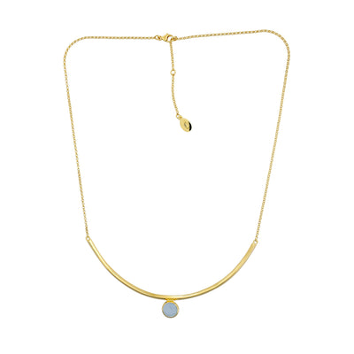 Ithica Curve Necklace with Aqua Chalcedony